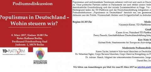 Veranstaltungseinladung Populismus in Deutschland